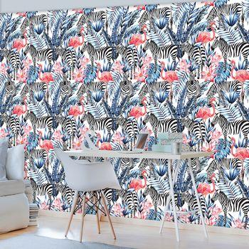 Fototapet - Mozaic - zebra cu flamingo (T030748T368280A)