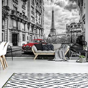 Foto tapeta - Rdeči avto v Parizu (T031008T368280A)