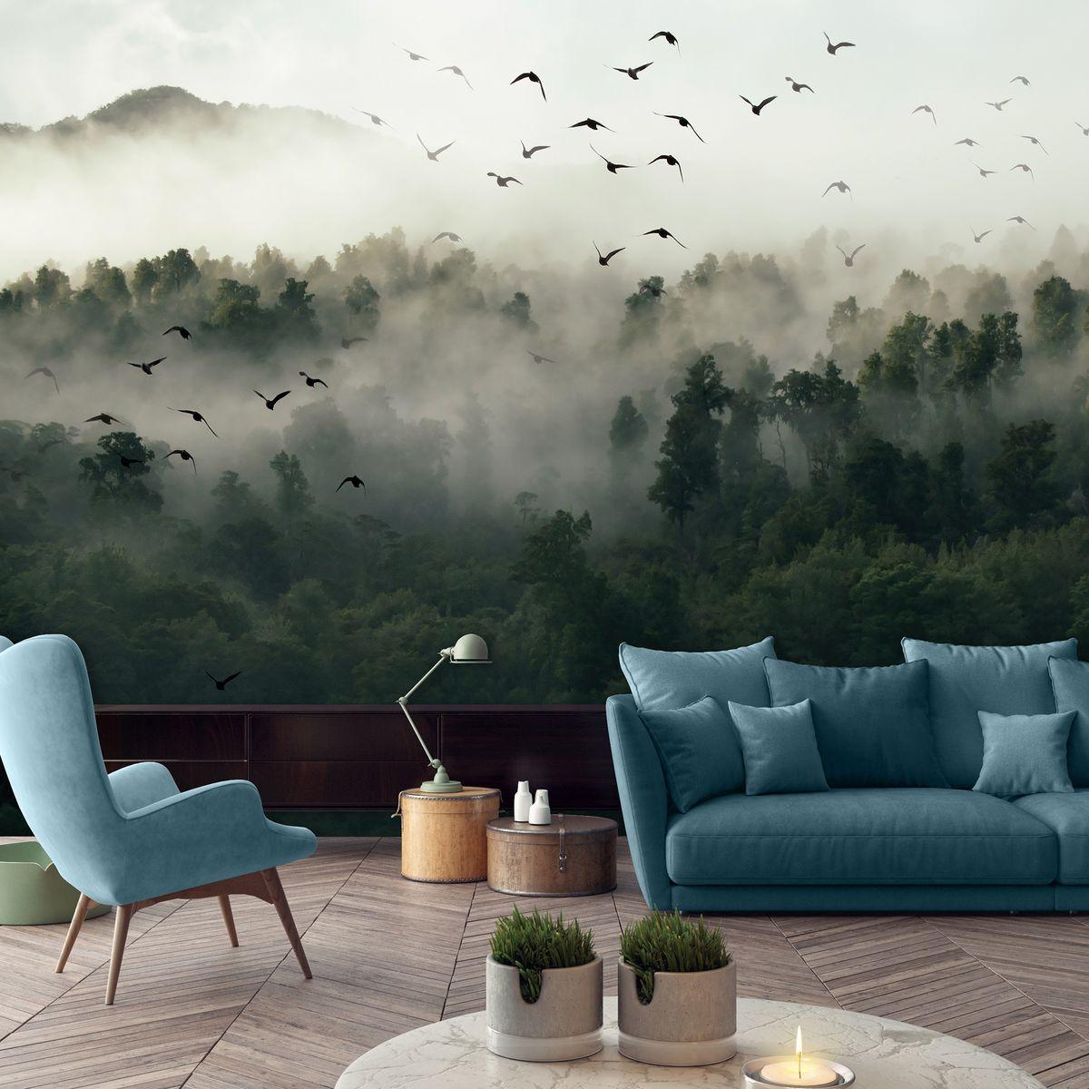 Fototapet - Păsări, pădure și ceață (T031344T1525104B)