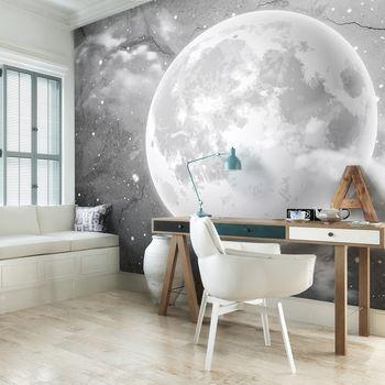Foto tapeta - Luna na betonu - črno-bela (T031941T254184A)