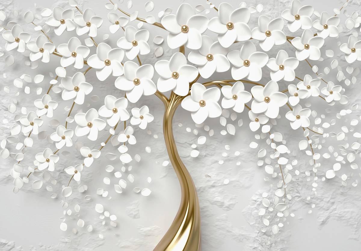 Fototapeta - Strom a bílé květy (T031953T254184B)