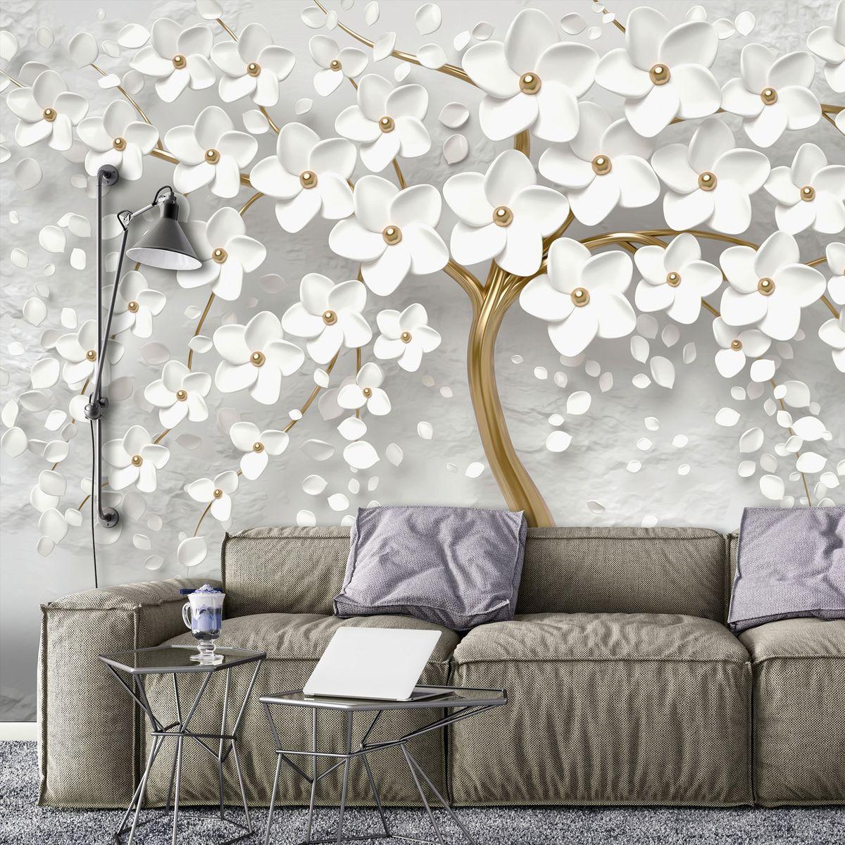 Fototapeta - Strom a bílé květy (T031953T1525104B)