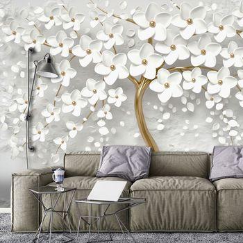 Fototapet - Copac și flori albe (T031953T1525104B)