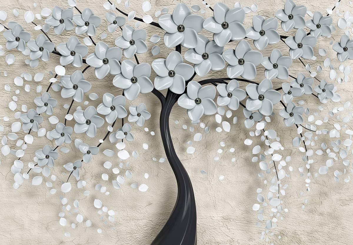 Fotótapéta - Fa és szürke virágok (T031955T1525104B)