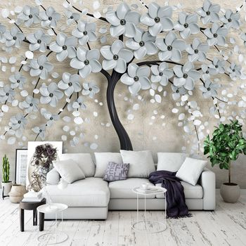 Fototapet - Copac și flori gri (T031955T1525104B)