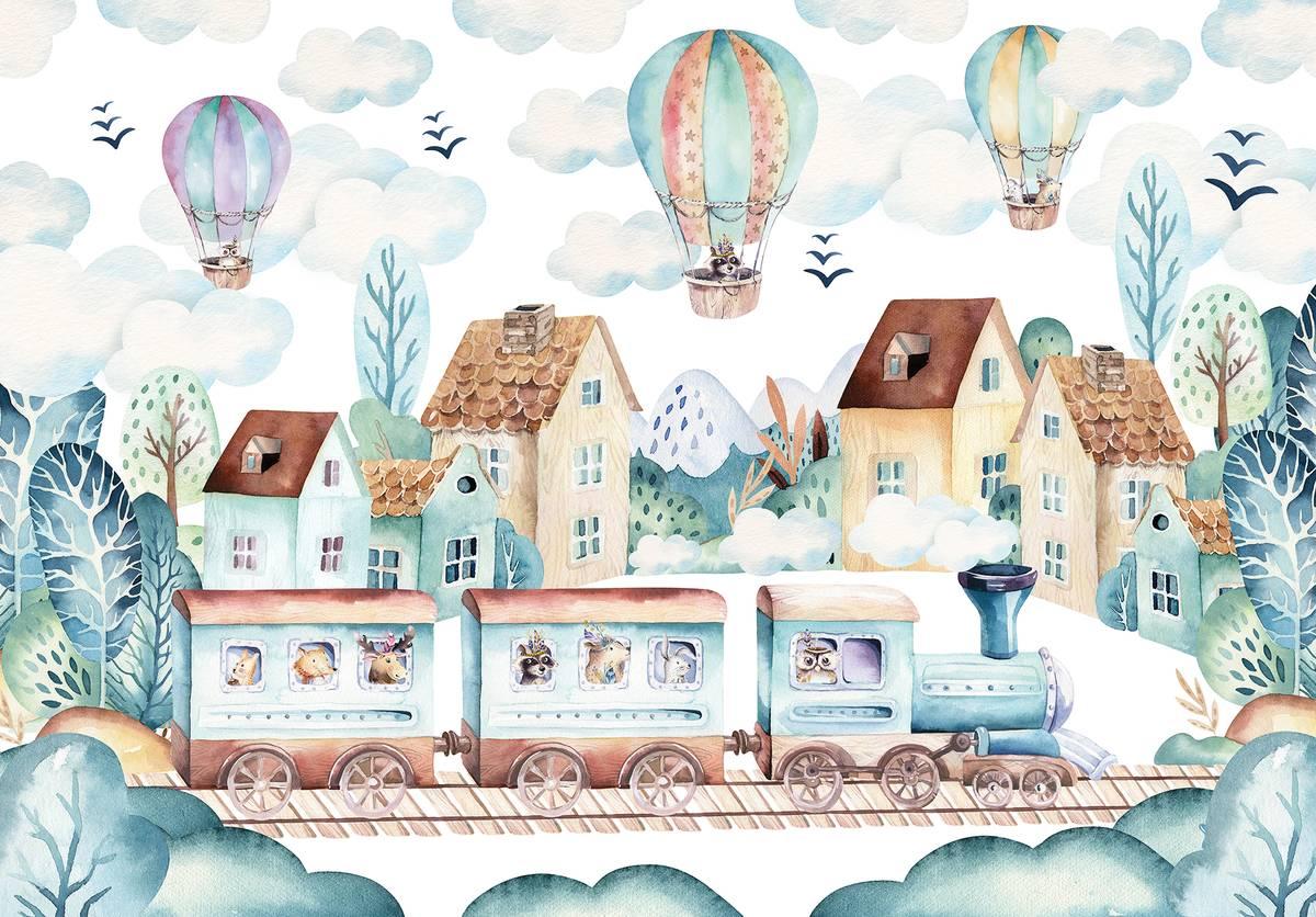 Fototapeta - Choo-choo a balóny (T032005T1525104B)