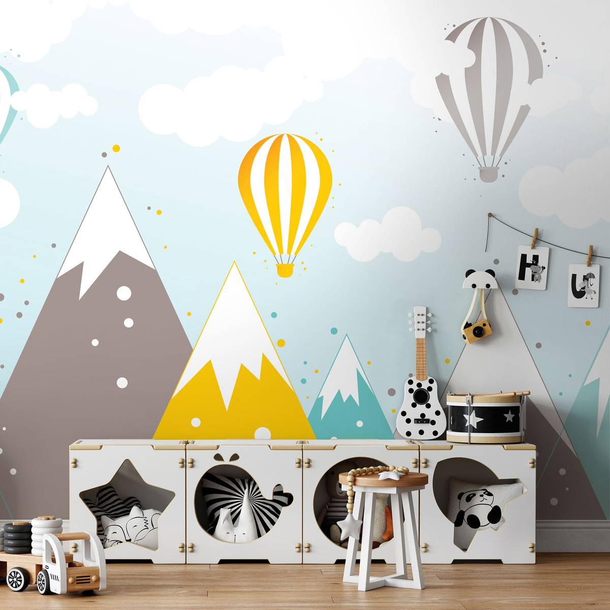 Fototapeta - Hory a teplovzdušné balóny (T032064T254184A)