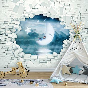 Foto tapeta - Zid od opeke i dječak na mjesecu (T032074T368280A)