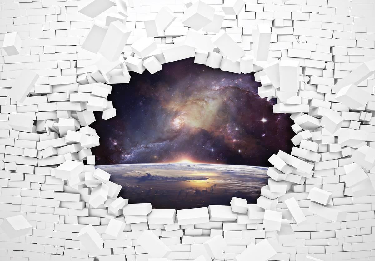 Fototapet - Perete din cărămizi și universul (T032075T254184B)