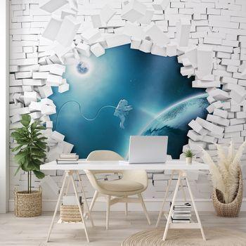 Foto tapeta - Opečna stena in astronavt v vesolju (T032076T368280A)