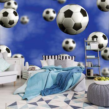Foto tapeta - Nogometne lopte na plavoj pozadini (T032609T254184A)