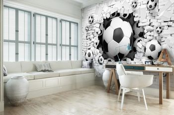 Fototapet - 3D - fodbal în Brickwall (T032710T416290B)