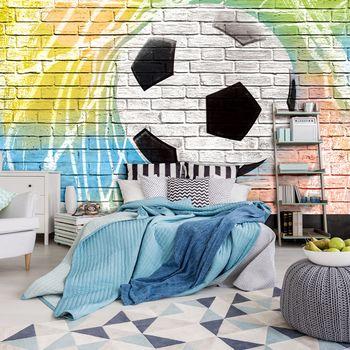 Foto tapeta - Grafiti - nogomet na zidu od opeke (T032727T254184A)