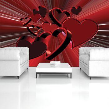 Fototapeta - Červené srdce - abstrakt (T033397T254184A)