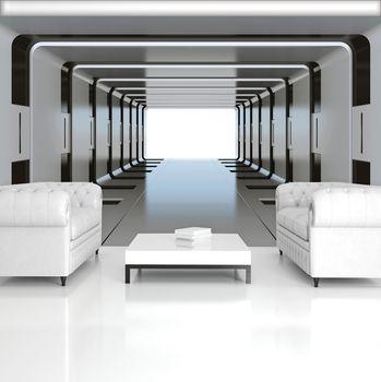 Foto tapeta - 3D srebrni tunel (T033399T254184A)
