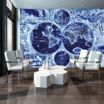 Fototapeta - Mapa světa - námornická modř (T033423T254184A)