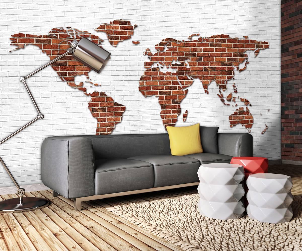 Fototapet - Harta lumii pe perete din cărămizi (T033459T254184B)