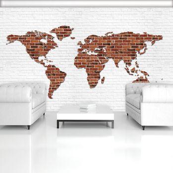 Fototapeta - Mapa světa na cihlové zdi (T033459T254184B)