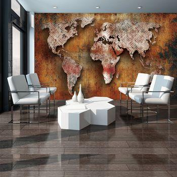 Fototapeta - Rustikálna mapa sveta (T033496T254184A)
