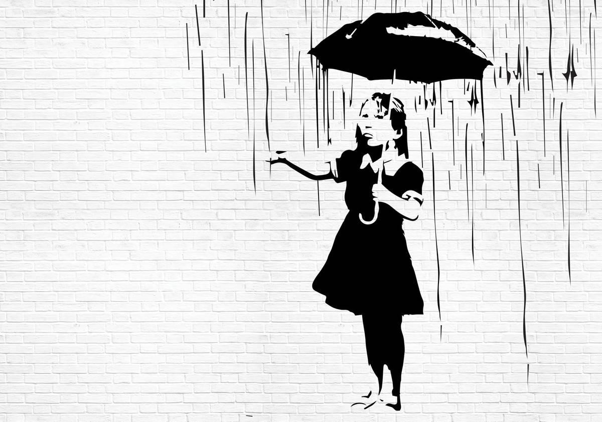 Fototapet - Fata cu umbrelă în ploaie (T033500T1525104B)