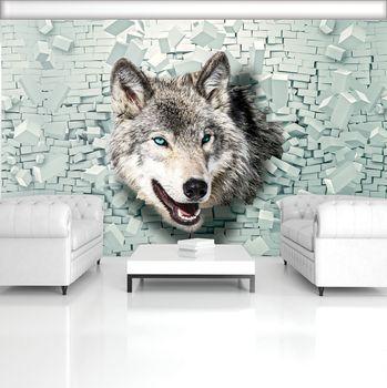 Foto tapeta - Vuk izlazi iz zida 3D (T033534T254184A)