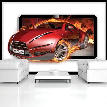Fotótapéta - Piros égő autó (T033543T254184A)