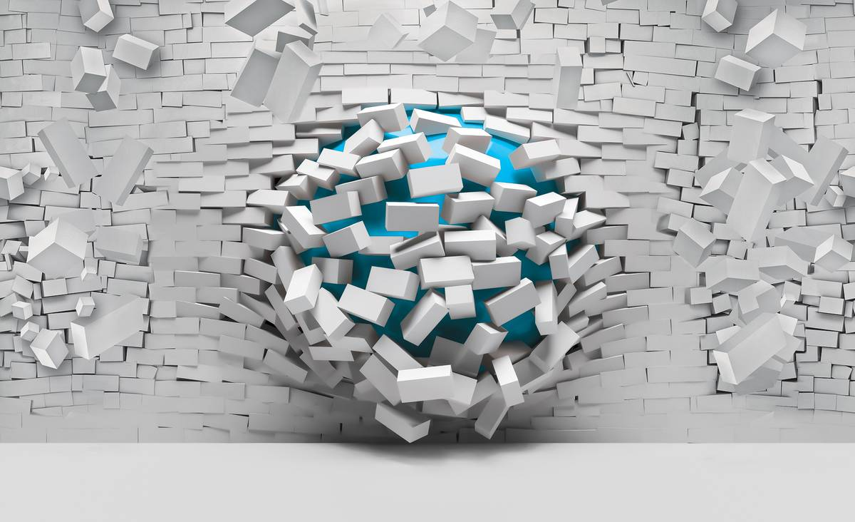 Fototapet - 3D mingea albastră și peretele alb din cărămizi (T033578T254184B)