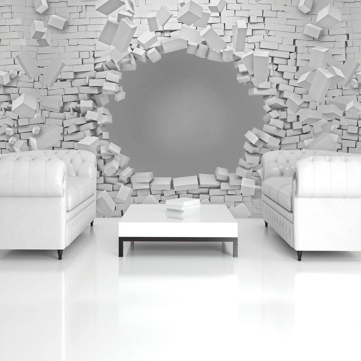 Fototapet - 3D - explozie peretelui din cărămizi (T033595T254184B)