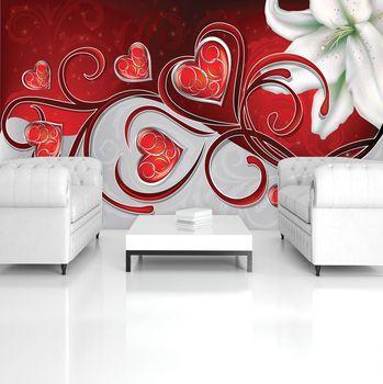 Fototapeta - Abstraktné umenie - srdce a ľalie (T033604T254184A)