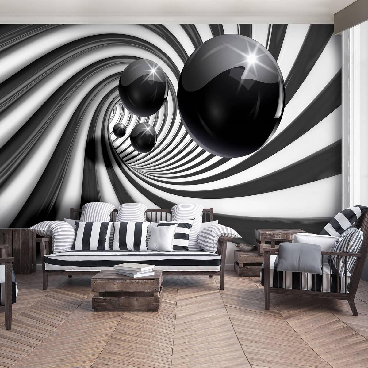 Foto tapeta - 3D crno-bijeli tunel (T033637T254184A)