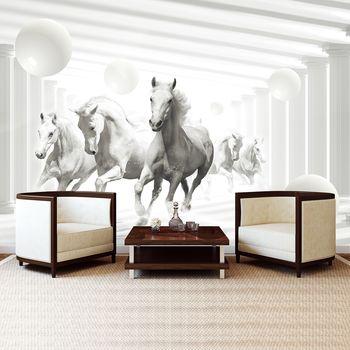 Foto tapeta - Bijeli konji između stupova (T033645T254184A)
