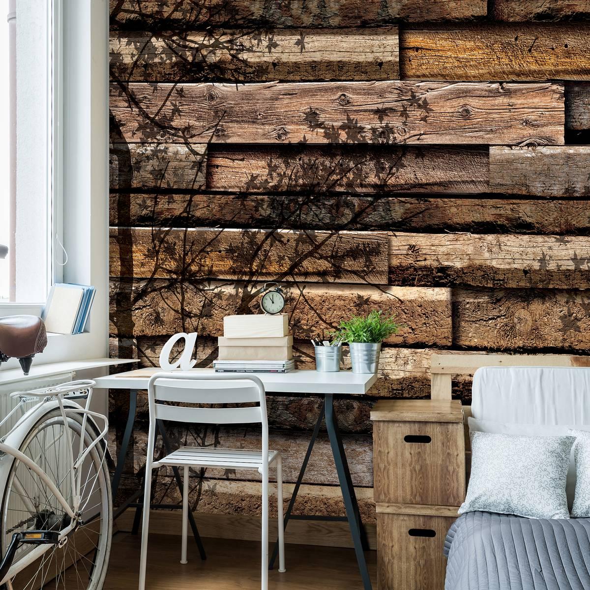 Fototapet - Umbre de copaci pe scănduri din lemn (T033656T254184B)