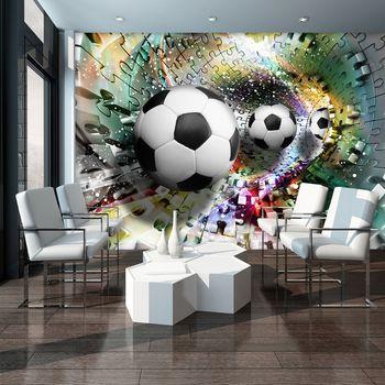 Fototapet - Mingi de fodbal în 3D puzzle (T033912T254184A)