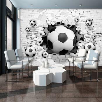 Fototapet - 3D fodbal în Brickwall (T033914T254184A)