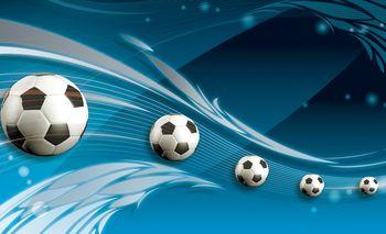 Fototapet - Mingi de fodbal pe fundal albastru (T033916T184254A)