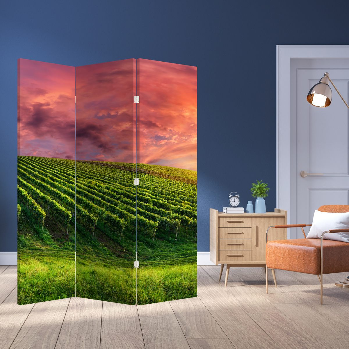 Paraván - Vinohrad s barevným nebem (P020336P135180)