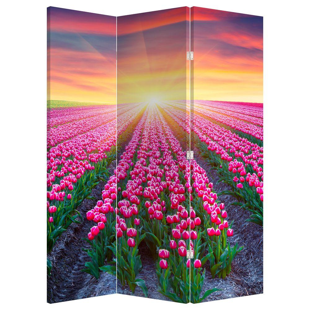 Paraván - Pole tulipánů se sluncem (P020554P135180)