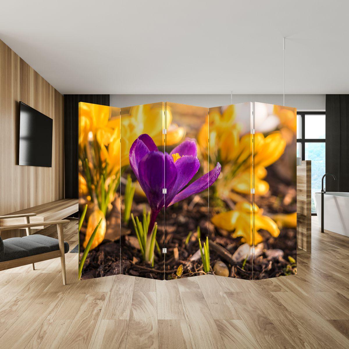 Paraván - Fialová květina (P020341P225180)