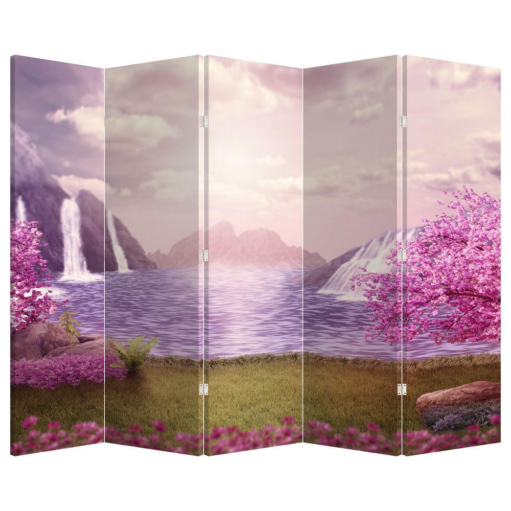 Paraván - Růžové stromy s jezerem (P020463P225180)