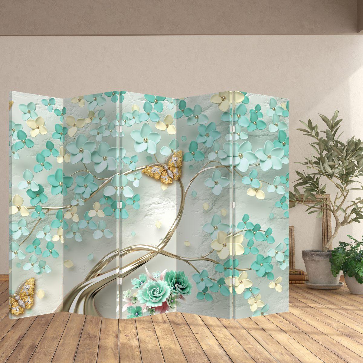 Paraván - Kvetina s motýľmi (P020716P225180)