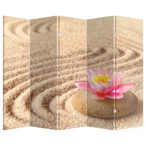 Paraván - Kámen s květinou na písku (P020864P225180)