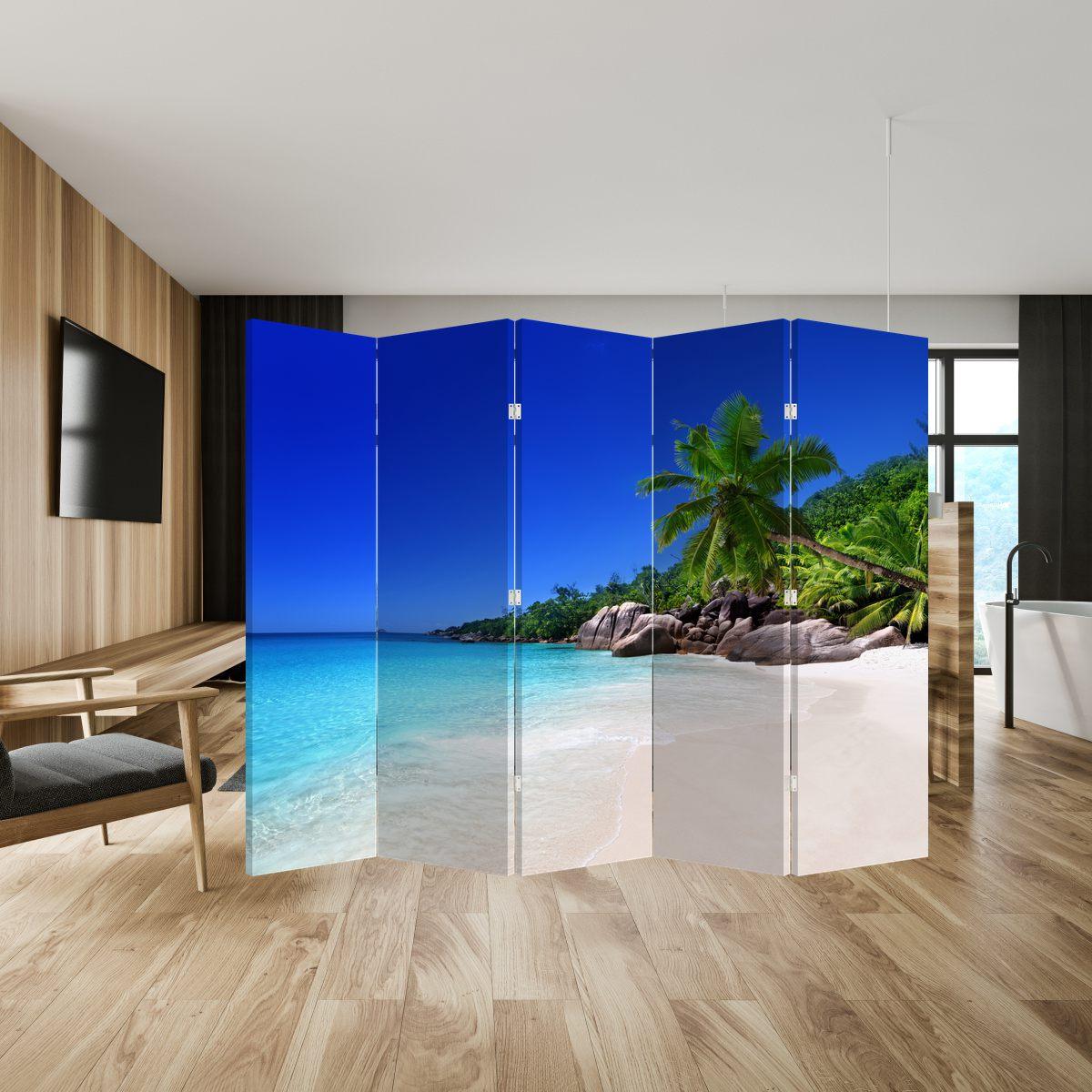 Paraván - Pláž na Praslin ostrově (P020936P225180)