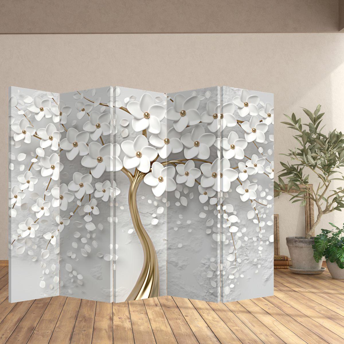 Paraván - Bílý strom s květinami (P020977P225180)