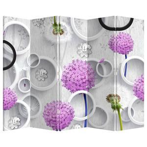 Paraván - 3D abstrakcie s kruhmi a kvetinami (P020981P225180)