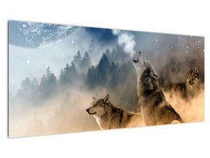 Obraz - vlci vyjící na měsíc (V020509V10040)