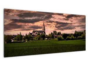 Obraz krajiny s kostelem (V020803V10040)