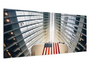 Obraz stavby s vlajkou USA (V020826V10040)