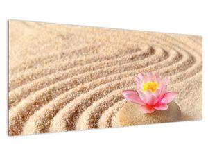 Obraz kameňa s kvetinou na piesku (V020864V10040)