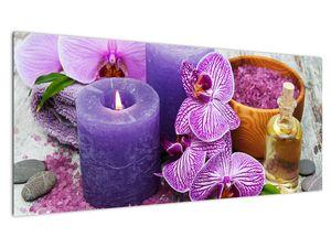Obraz orchideí a svíček (V020894V10040)