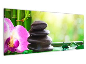 Obraz masážních kamenů a orchidee na vodě (V020902V10040)